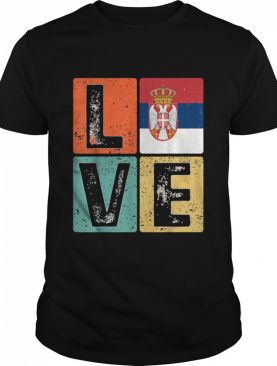 Vintage Retro I Love Serbia Flag for Serbian Pride shirt